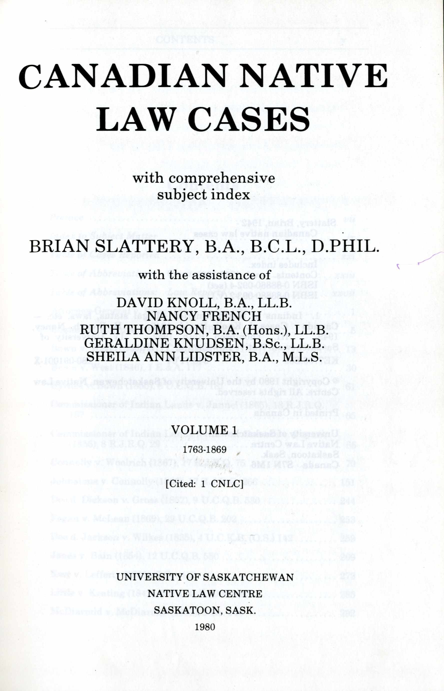 Canadian Native Law Cases Vol. 1 Image