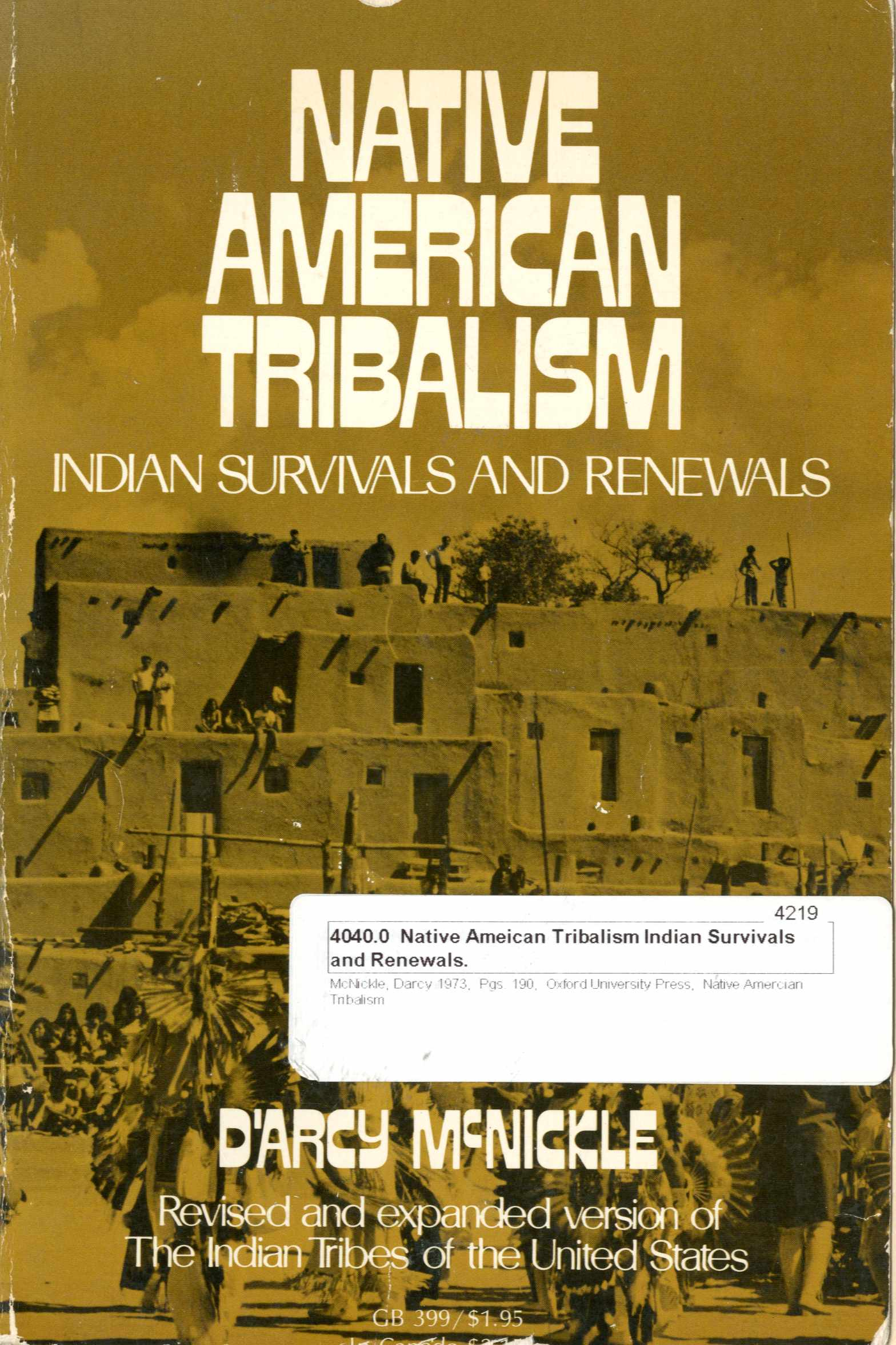 Native American Tribalism: Indian Survival and Renewals Image